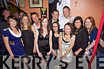 Party time in Flanagan's Bar, Listowel last Saturday night, l-r, Cloe Dowling, Karen O'Sullivan, Noel Deenihan, Linda Walsh, John O'Donohue, Martina Molyneaux, Paul Costello, Christina Dylan, Breda O'Connell and Karina O'Driscoil.