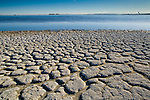 Dry cracked soil along the shoreline of the Salton Sea, Imperial Valley, California