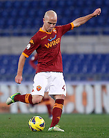 Calcio, ottavi di finale di Coppa Italia: Roma vs Atalanta. Roma, stadio Olimpico, 11 dicembre 2012..AS Roma midfielder Michael Bradley, of the United States, in action during their Italy Cup last-16 tie football match between AS Roma and Atalanta at Rome's Olympic stadium, 11 December 2012..UPDATE IMAGES PRESS/Isabella Bonotto