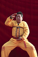 A Chinese martial arts master tries to break a chain during a performance at a temple fair on February 19, 2010 in Beijing, China. Chinese continue to celebrate the Lunar Chinese New Year of the Tiger by visiting temple fair to watch traditional folk performances and eat local delicatessens.