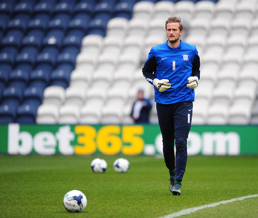 Preston North End's Anders Lindegaard during the pre-match warm-up <br /> <br /> Photographer Chris Vaughan/CameraSport<br /> <br /> Football - The Football League Sky Bet Championship - Preston North End v Queens Park Rangers - Saturday 19th March 2016 - Deepdale - Preston <br /> <br /> &copy; CameraSport - 43 Linden Ave. Countesthorpe. Leicester. England. LE8 5PG - Tel: +44 (0) 116 277 4147 - admin@camerasport.com - www.camerasport.com