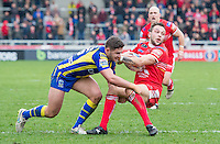 Picture by Allan McKenzie/SWpix.com - 04/03/2017 - Rugby League - Betfred Super League - Salford Red Devils v Warrington Wolves - AJ Bell Stadium, Salford, England - Salford's Gareth O'Brien is tackled by Warrington's Jack Johnson.