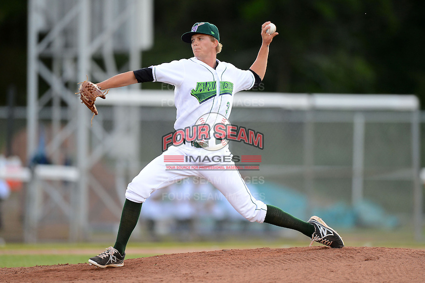 Jamestown Jammers pitcher Jackson Lodge #3 during a game against the Williamsport Crosscutters on June 20, 2013 at Russell Diethrick Park in Jamestown, New York.  Jamestown defeated Williamsport 12-6.  (Mike Janes/Four Seam Images)