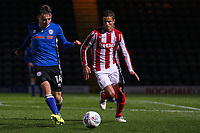 Stoke City's u23 Ibrahim Afellay puts pressure on Rochdale's Ollie Rathbone<br /> <br /> Photographer Juel Miah/CameraSport<br /> <br /> EFL Checkatrade Trophy - Northern Section Group C - Rochdale v Stoke City U23s - Tuesday 3rd October 2017 - Spotland Stadium - Rochdale<br />  <br /> World Copyright &copy; 2018 CameraSport. All rights reserved. 43 Linden Ave. Countesthorpe. Leicester. England. LE8 5PG - Tel: +44 (0) 116 277 4147 - admin@camerasport.com - www.camerasport.com