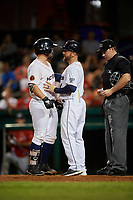 Bowling Green Hot Rods manager Craig Albernaz (1) gets in between Trey Hair (5) and home plate umpire Steven Jaschinski during a game against the Peoria Chiefs on September 15, 2018 at Bowling Green Ballpark in Bowling Green, Kentucky.  Bowling Green defeated Peoria 6-1.  (Mike Janes/Four Seam Images)
