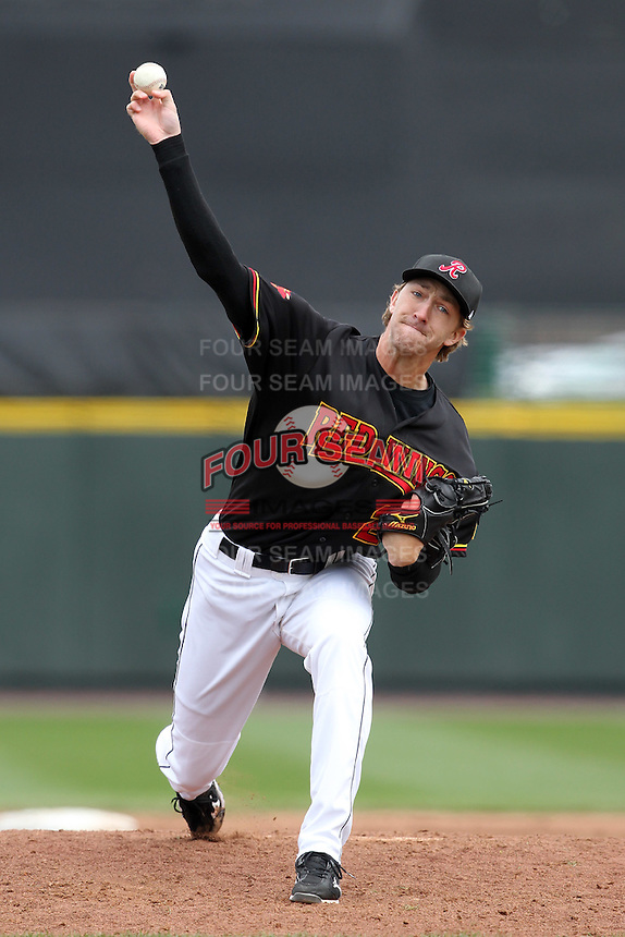 Rochester Red Wings relief pitcher Jim Hoey #22 delivers a pitch during the first game of a double header against the Lehigh Valley Ironpigs at Frontier Field on April 14, 2011 in Rochester, New York.  Rochester defeated Lehigh Valley 3-1 with a walk off home run in the bottom of the seventh.  Photo By Mike Janes/Four Seam Images