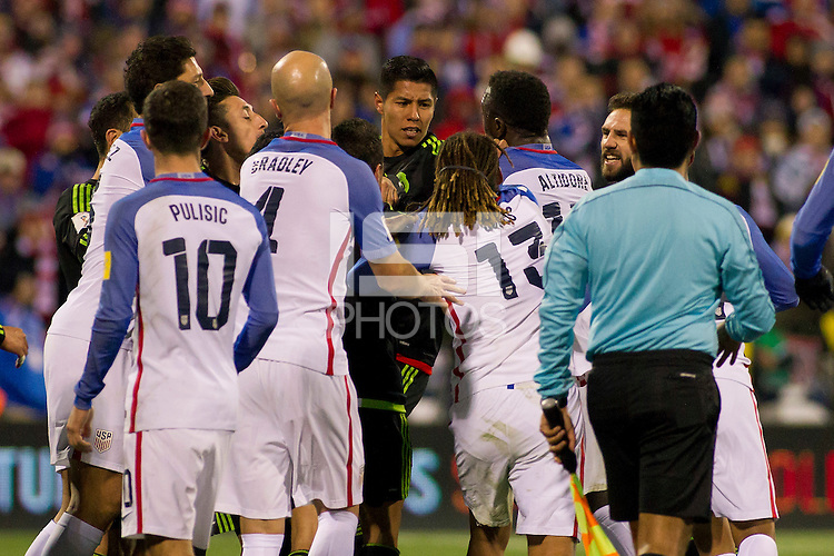 Columbus, Ohio - Friday, November 11, 2016: Michael Bradley, Hugo Ayala, Jermaine Jones, Jozy Altidore during a USMNT vs Mexico WCQ at Mapfre Stadium. Mexico defeated the USA 2-1.