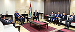 Palestinian Prime minister, Rami Hamadallah, meets with a Secretary-General of the General Federation of Palestinian Writers and Writers Murad Al-Sudani, in the West Bank city of Ramallah,on August 17, 2017. Photo by Prime Minister Office