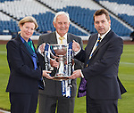 Shona Robison, Bobby brown and David Longmuir with the Scottish Communities League Cup