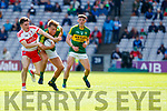 Fiáchra Clifford Kerry in action against Conleth McShane Derry in the All-Ireland Minor Footballl Final in Croke Park on Sunday.