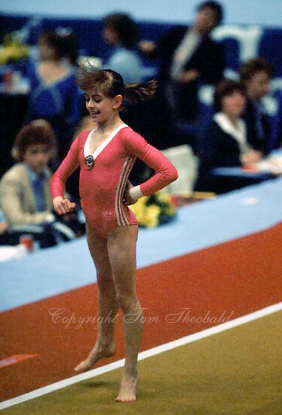 Oksana Omeliantchik of Soviet Union performs on floor exercise at 1985 European Championships in women's artistic gymnastics at Helsinki, Finland in late April, 1985.  Photo by Tom Theobald.