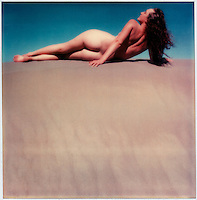 Lynne on the sand dunes, Polaroid SX-70 portrait c. 1976