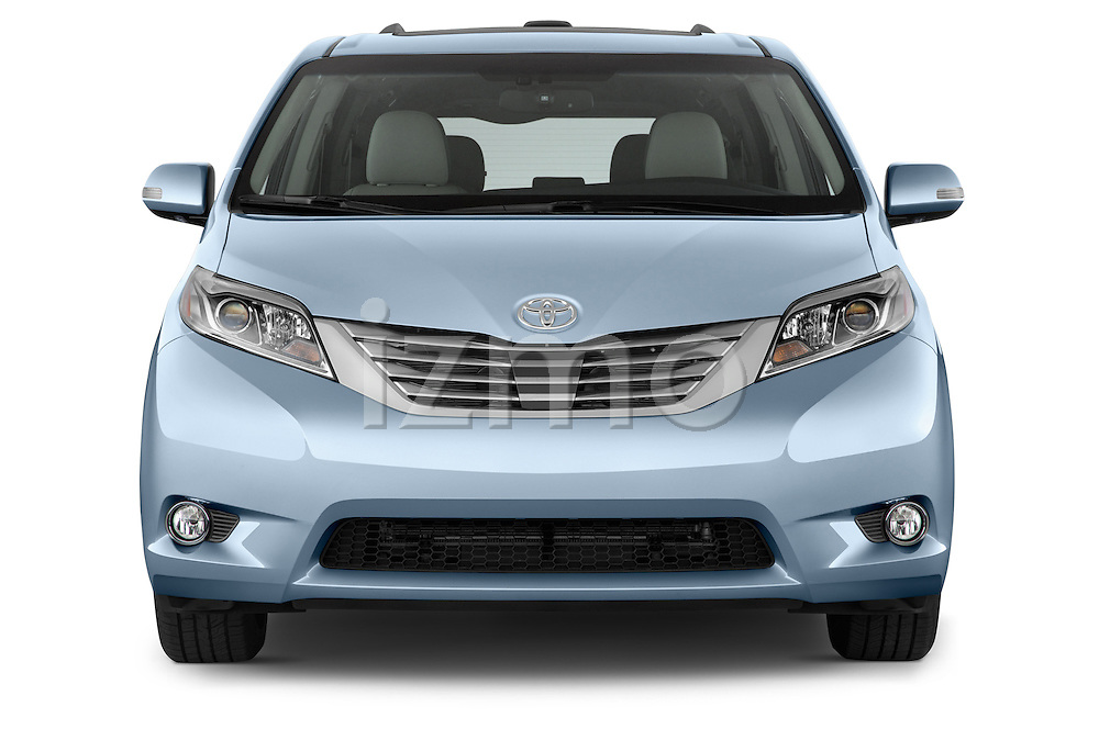 Car photography straight front view of a2015 Toyota Sienna Limited V6 8-Passenger 5 Door Mini Van Front View