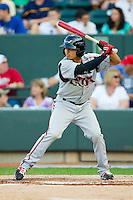 California League All-Star Rico Noel #1 of the Lake Elsinore Storm at bat against the Carolina League All-Stars during the 2012 California-Carolina League All-Star Game at BB&T Ballpark on June 19, 2012 in Winston-Salem, North Carolina.  The Carolina League defeated the California League 9-1.  (Brian Westerholt/Four Seam Images)