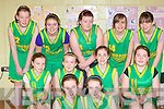 Gneeveguilla team that played St Anne's in the u14 Girls Kerry Area Basketball Juvenile Plate Final in Killarney on Sunday front row l-r: Elaine O'Keeffe, Maureen Fleming. Middle row: Catlyn O'Leary, Aoibheann Dobbins, Marie Fleming, Christina McAulliffe. Back row: Maura Cremin, Aisling Collins, Roisin O'Sullivan, Mairead Breen and Aisling McGillicuddy.
