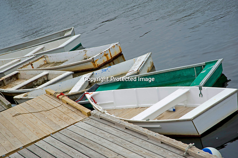 Dories at Dock in the Harbor of Ogunquit, Maine