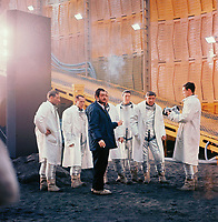 2001: A Space Odyssey (1968) <br /> Behind the scenes photo of Stanley Kubrick &amp; William Sylvester<br /> *Filmstill - Editorial Use Only*<br /> CAP/KFS<br /> Image supplied by Capital Pictures