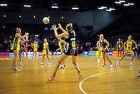 Jo Harten takes a pass during the ANZ Netball Championship match between the Central Pulse and Waikato Bay Of Plenty Magic at TSB Bank Arena, Wellington, New Zealand on Monday, 30 March 2015. Photo: Dave Lintott / lintottphoto.co.nz