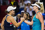 Coco Vandeweghe (R) of United States shakes hand with Ashleigh Barty (L) of Australia after winning the singles semi final match of the WTA Elite Trophy Zhuhai 2017 at Hengqin Tennis Center on November  04, 2017 in Zhuhai, China. Photo by Yu Chun Christopher Wong / Power Sport Images