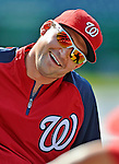 18 May 2012: Washington Nationals third baseman Ryan Zimmerman stretches out prior to a game against the Baltimore Orioles at Nationals Park in Washington, DC. The Orioles defeated the Nationals 2-1 in the first game of their 3-game series. Mandatory Credit: Ed Wolfstein Photo