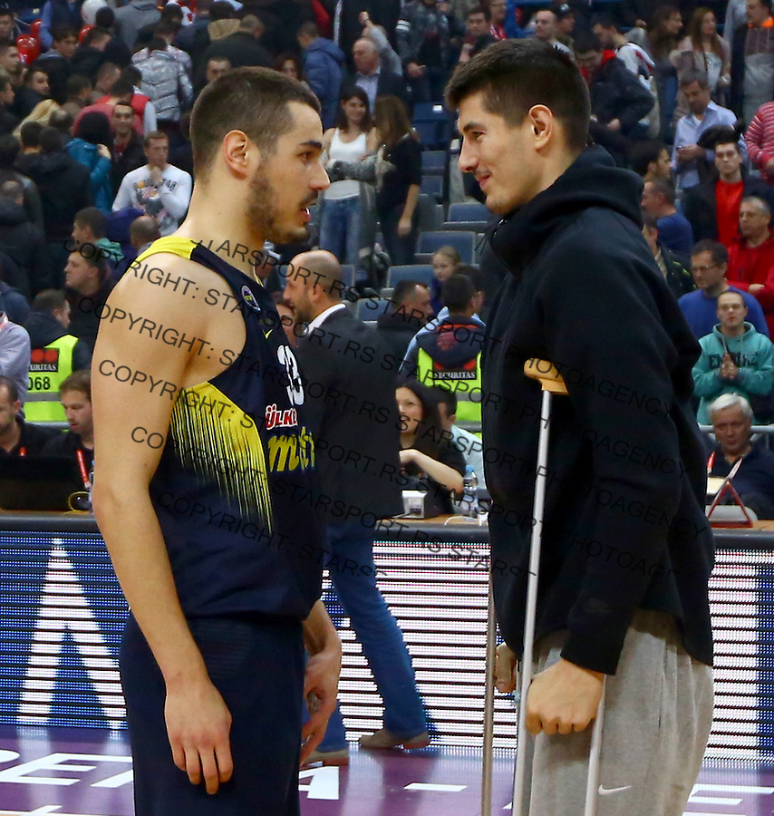 Nikola Kalinic i Luka Mitrovic Euroleague basketball game between Crvena Zvezda and Fenerbahce on Novembar 6. 2015 Beograd, Srbija, 6.11.2015.  (credit image & photo: Pedja Milosavljevic / STARSPORT)