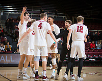 STANFORD, CA - January 5, 2019: Kyler Presho, Eric Beatty, Jaylen Jasper, Kyle Dagostino, Jordan Ewert at Maples Pavilion. The Stanford Cardinal defeated UC Santa Cruz 25-11, 25-17, 25-15.
