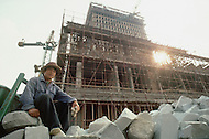 "October 1984. Near Beijing, under construction the ""Great Wall"" Hotel, will be finished in one year."