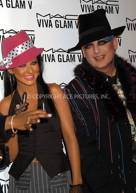 M.A.C. Cosmetics announces Christina Aguilera and Boy George as spokesperson for the M.A.C. AIDS Fund's new Viva Glam V Campaign. New York, February 11, 2004. Please byline: AJ SOKALNER/ACE Pictures.   ..*PAY-PER-USE*      ....IMPORTANT: Please note that our old trade name, NEW YORK PHOTO PRESS (NYPP), is replaced by new name, ACE PICTURES. New York Photo Press and ACE Pictures are owned by All Celebrity Entertainment, Inc.......All Celebrity Entertainment, Inc:  ..contact: Alecsey Boldeskul (646) 267-6913 ..Philip Vaughan (646) 769-0430..e-mail: info@nyphotopress.com