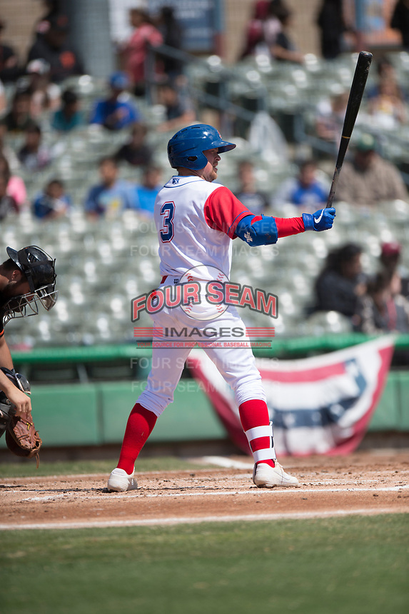 Stockton Ports third baseman Trace Loehr (3) during a California League game against the San Jose Giants on April 9, 2019 in Stockton, California. San Jose defeated Stockton 4-3. (Zachary Lucy/Four Seam Images)