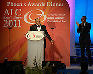 September 24, 2011  (Washington, DC)    The Reverend Joseph E. Lowery received the Phoenix Award at the Convention Center in Washington, DC. as actor Hill Harper looks on.  The Phoenix Award is given to individuals that positively impact the African-American experience.  The Dinner concluded a week-long series of activities and panel discussions during the 41st Annual Legislative Conference of the Congressional Black Caucus Foundation.  (Photo by Don Baxter/Media Images International)