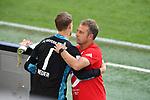 """Torwart Manuel NEUER (M), Trainer Hans-Dieter """"Hansi """" FLICK (M), Umarmung, <br /><br />Sport: Fussball: 1. Bundesliga: Saison 19/20: 34.Spieltag, <br />VFL WOLFSBURG - FC BAYERN MUENCHEN <br />am 27.06.2020 in der Volkswagen Arena Wolfsburg, <br /><br />Nur fuer journalistische Zwecke! <br />Only for editorial use!<br />Gemaess den Vorgaben der DFL Deutsche Fussball Liga ist es untersagt, in dem Stadion und/oder vom Spiel angefertigte Fotoaufnahmen in Form von Sequenzbildern und/oder videoaehnlichen Fotostrecken zu verwerten bzw. verwerten zu lassen. <br />DFL regulations prohibit any use of photographs as image sequences and/or quasi-video.<br />National and International News Agencies OUT<br />NO RESALE!"""