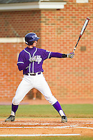 Spencer Angelis (11) of the High Point Panthers at bat against the Charlotte 49ers at Willard Stadium on February 20, 2013 in High Point, North Carolina.  The 49ers defeated the Panthers 12-3.  (Brian Westerholt/Four Seam Images)