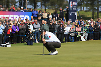 Paul Dunne (IRL) on the 1st green during Round 3 of the Betfred British Masters 2019 at Hillside Golf Club, Southport, Lancashire, England. 11/05/19<br /> <br /> Picture: Thos Caffrey / Golffile<br /> <br /> All photos usage must carry mandatory copyright credit (&copy; Golffile | Thos Caffrey