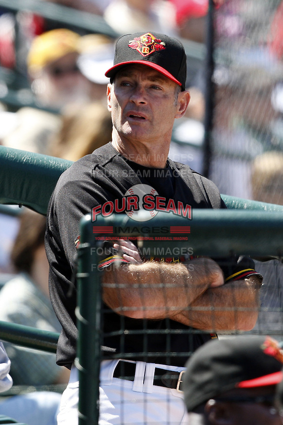 May 25, 2009:  Roving Coach Paul Molitor  works with the Rochester Red Wings, International League Triple-A affiliate of the Minnesota Twins, during a game at Frontier Field in Rochester, NY.  Photo by:  Mike Janes/Four Seam Images