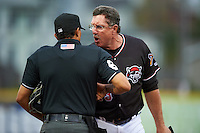 Erie SeaWolves manager Lance Parrish (13) argues a call with umpire Erich Bacchus during a game against the Bowie Baysox on May 12, 2016 at Jerry Uht Park in Erie, Pennsylvania.  Bowie defeated Erie 6-5.  (Mike Janes/Four Seam Images)