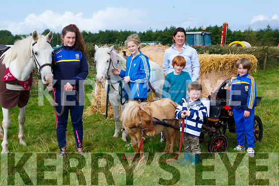 Ciara Casey, Holly O'Sullivan, Lachlan, Jamie, Josie and Marcus Kissane at the Treshing for Cancer in Beaufort on Sunday