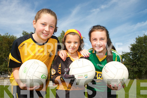 Pictured at the Austin Stacks summer camp at Connolly Park on Friday were, left to right: Ciara Ryan, Ella Breen and Ciara Moynihan.