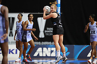 23.02.2018 Silver Ferns Samantha Sinclair in action during the Silver Ferns v Fiji Taini Jamison Trophy netball match at the North Shore Events Centre in Auckland. Mandatory Photo Credit ©Michael Bradley.
