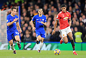 5th November 2017, Stamford Bridge, London, England; EPL Premier League football, Chelsea versus Manchester United; Marcus Rashford of Manchester Utd is pursued by Cesar Azpilicueta of Chelsea