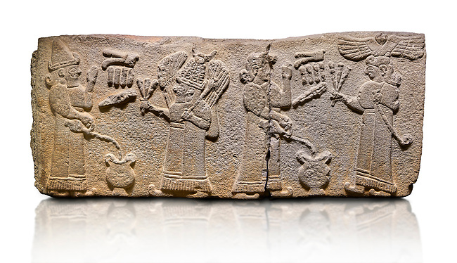 Aslantepe Monumental Hittite relief sculpted orthostat stone panel.  Limestone, Aslantepe, Malatya, 1200-700 B.C. <br /> <br /> Scene of the king's offering drink and sacrifice to the gods. The king offers to the winged god of the moon who stands across and holds a lightning bundle in his hand. Behind the king is the queen, who also offers to goddess of the sun holding a sceptre in his hand. King's left hand is in a position to worship. <br /> <br /> Against a white background.