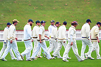 The Wanderers walk out to field in the Governor-General's XI cricket match at the Hawkins Basin reserve, Wellington, New Zealand on Friday, 3 November 2017. Photo: Dave Lintott / lintottphoto.co.nz