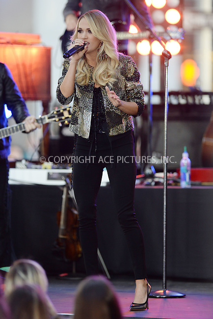 WWW.ACEPIXS.COM<br /> October 23, 2015 New York City<br /> <br /> Carrie Underwoodperforming on NBC TODAY on October 23, 2015  in New York City. <br /> <br /> Credit: Kristin Callahan/ACE Pictures <br /> <br /> Tel: (646) 769 0430<br /> e-mail: info@acepixs.com.<br /> web: http://www.acepixs.com