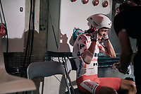 Warren Barguil (FRA/Sunweb) hardly sits down after finishing his TT as french media swamp him for reactions<br /> <br /> 104th Tour de France 2017<br /> Stage 20 (ITT) - Marseille › Marseille (23km)