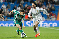 Real Madrid´s Isco (R) and Cornella´s Luis during Spanish King Cup match between Real Madrid and Cornella at Santiago Bernabeu stadium in Madrid, Spain.December 2, 2014. (NortePhoto/ALTERPHOTOS/Victor Blanco)
