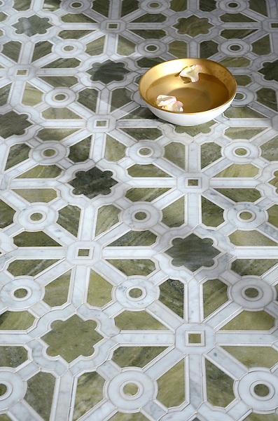 Jardin, a stone waterjet mosaic, shown in polished Verde Luna, Calacatta, and Carrara. Designed by Sara Baldwin Designs for New Ravenna.<br />