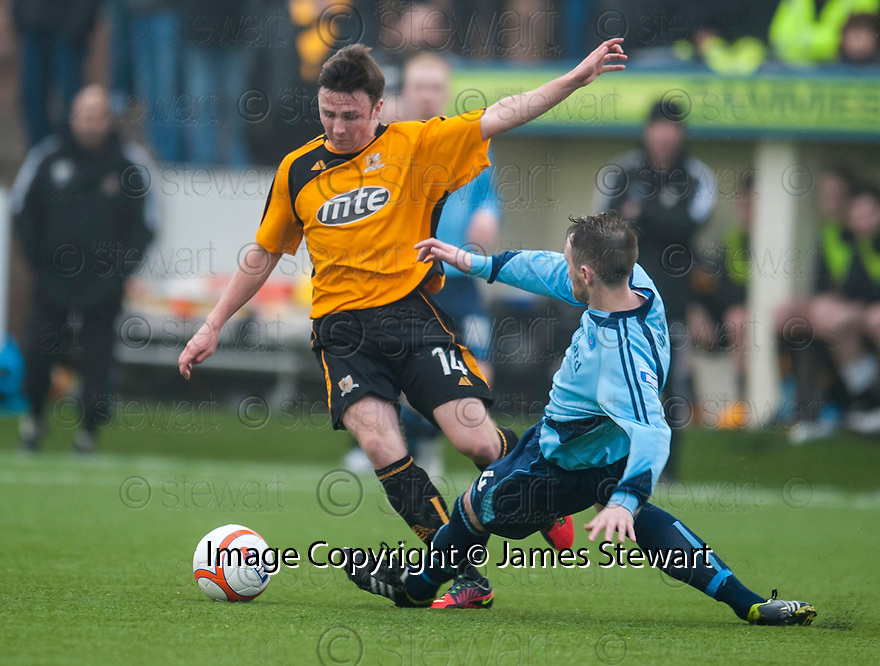 "Alloa""s Calum Gallagher is challenged by Forfar's Michael Bolochoweckyj."