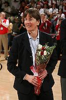 STANFORD, CA - FEBRUARY 7:  Members of the 1990 National Championship team reunite during Stanford's 77-39 win over USC on February 7, 2010 at Maples Pavilion in Stanford, California. Pictured is Tara VanDerveer.