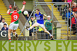 Killain Young Kerry in action against Aidan O'Shea Mayo in the National Football League in Austin Stack Park on Sunday..