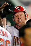11 July 2008: Washington Nationals' right fielder Austin Kearns gets high fives in the dugout after hitting his 99th career home run in the sixth inning against the Houston Astros at Nationals Park in Washington, DC. The Nationals shut out the Astros 10-0 in the first game of their 3-game series...Mandatory Photo Credit: Ed Wolfstein Photo