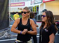 May 6, 2018; Commerce, GA, USA; NHRA top fuel driver Leah Pritchett (left) with Megan Schumacher during the Southern Nationals at Atlanta Dragway. Mandatory Credit: Mark J. Rebilas-USA TODAY Sports
